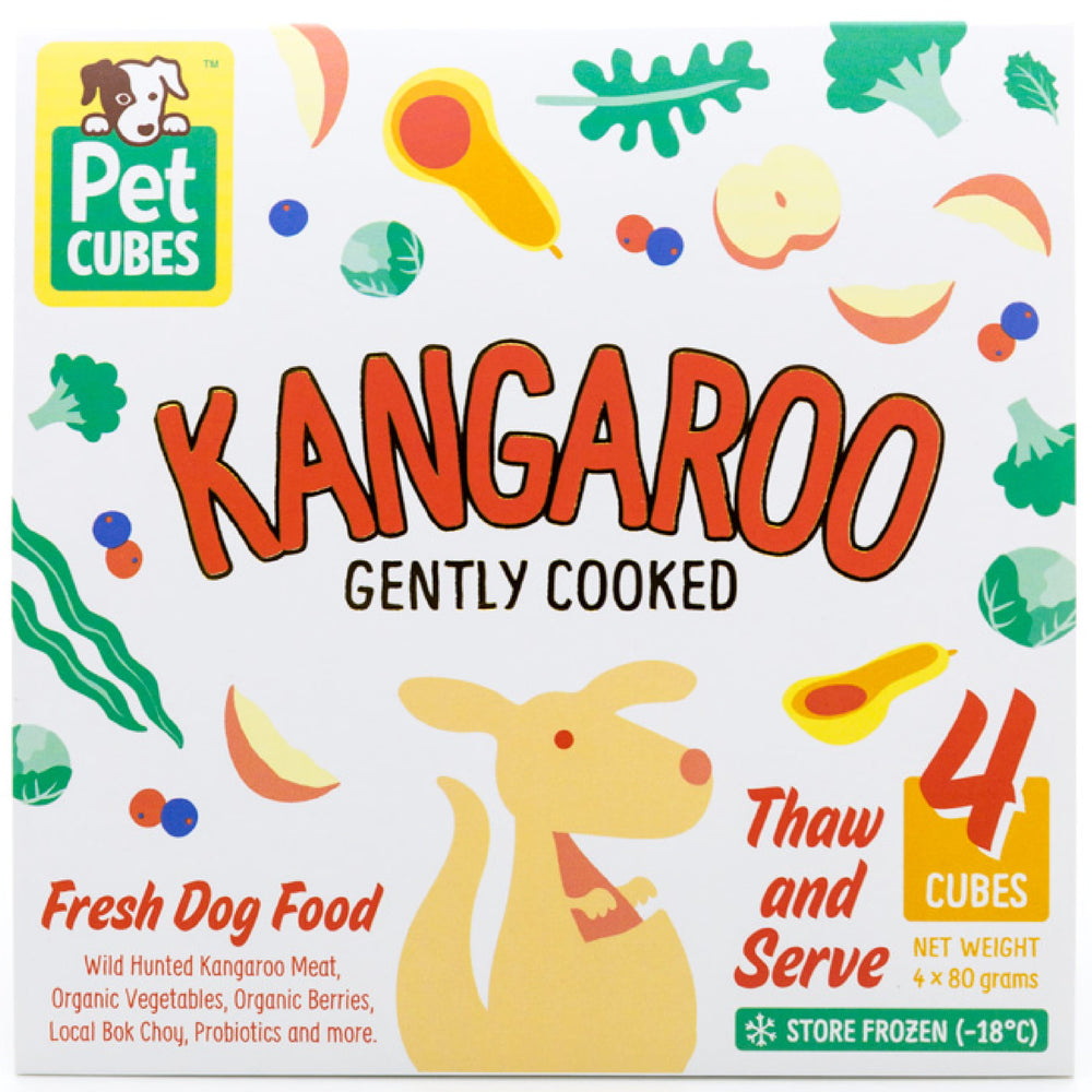 <b>5% OFF:</b> Pet Cubes Premium Complete Gently Cooked Kangaroo Fresh Food For Dogs (<b>FROZEN</b>)
