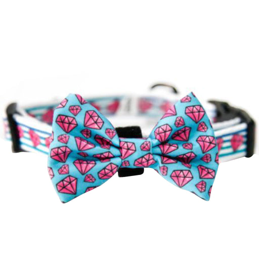 Hello Furry Pinky Diamond Collar + Bow Tie
