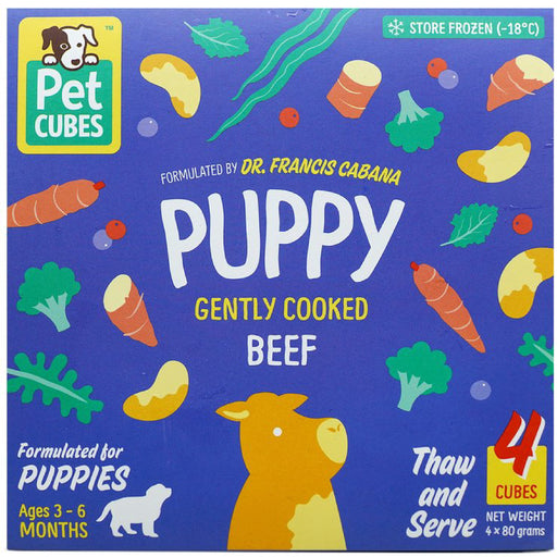 <b>5% OFF:</b> Pet Cubes Complete Gently Cooked Beef Fresh Food For Puppy (<b>FROZEN</b>)
