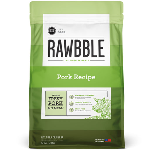 [PAWSOME] <b>15% OFF + FREE 128G FREEZE DRIED: </b> Bixbi RAWBBLE® Limited Ingredients Grain Free Pork Recipe Dry Dog Food