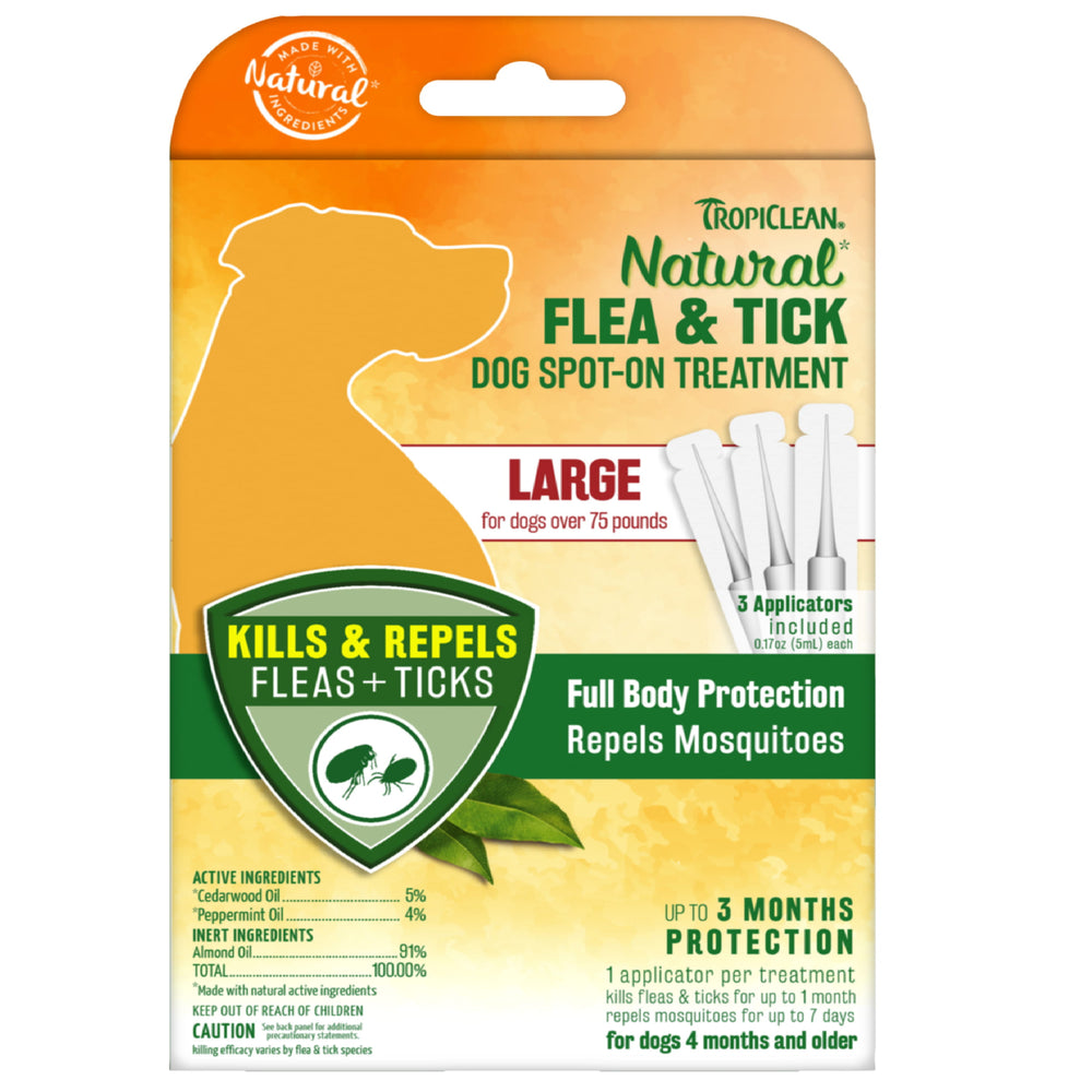 <b>15% OFF:</b> TropiClean Natural Flea & Tick Spot On Treatment For Large Dogs