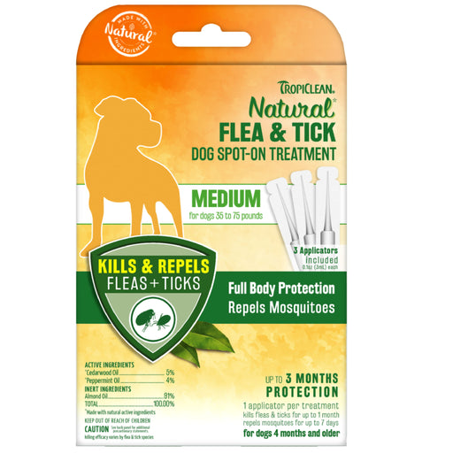 <b>10% OFF:</b> TropiClean Natural Flea & Tick Spot On Treatment For Medium Dogs
