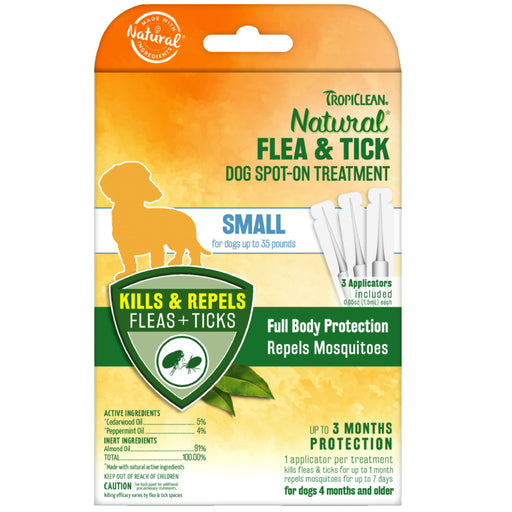 <b>10% OFF:</b> TropiClean Natural Flea & Tick Spot On Treatment For Small Dogs