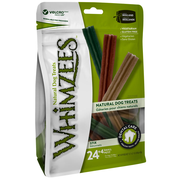 Whimzees Stix Small Natural Dental Dog Chews (24+4pcs)