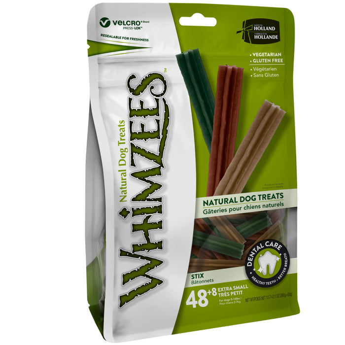 Whimzees Stix Extra-Small Natural Dental Dog Chews (48+8pcs)