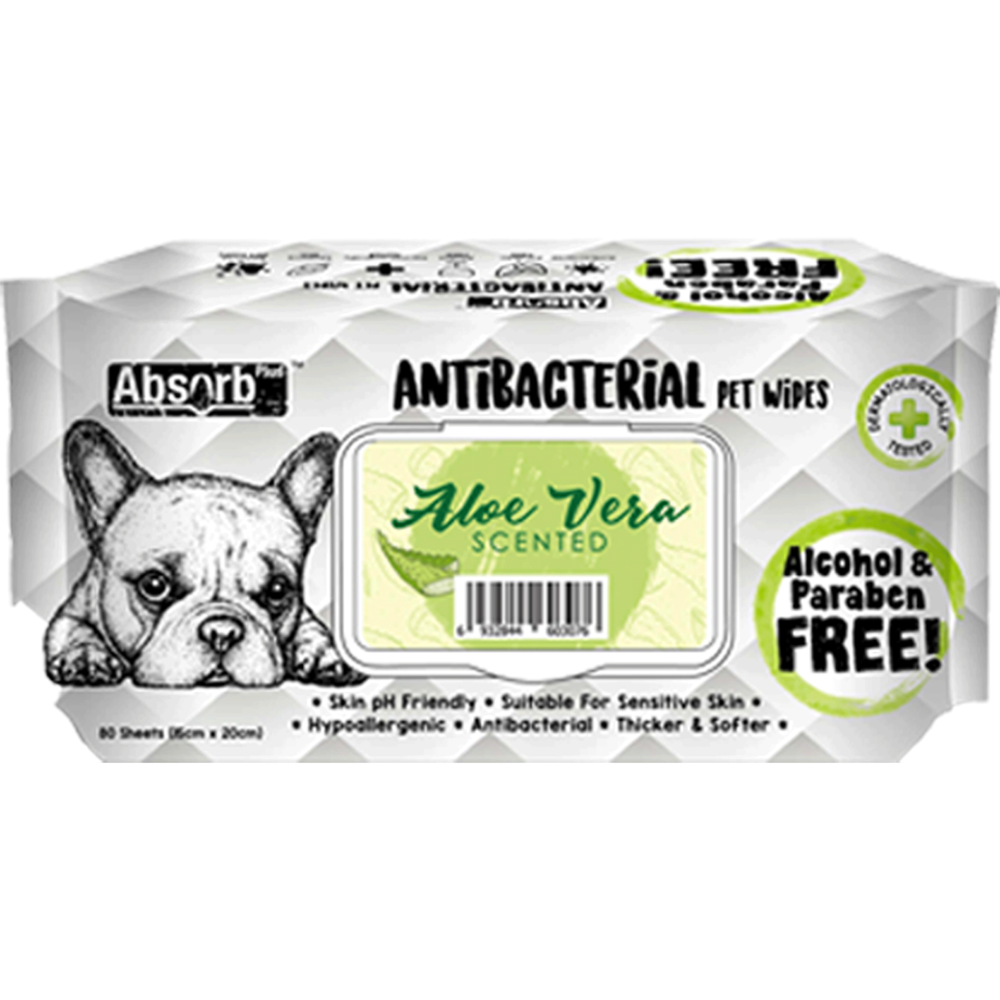Absolute Pet Absorb Plus Anti Bacteria Aloe Vera Scented Pet Wipes
