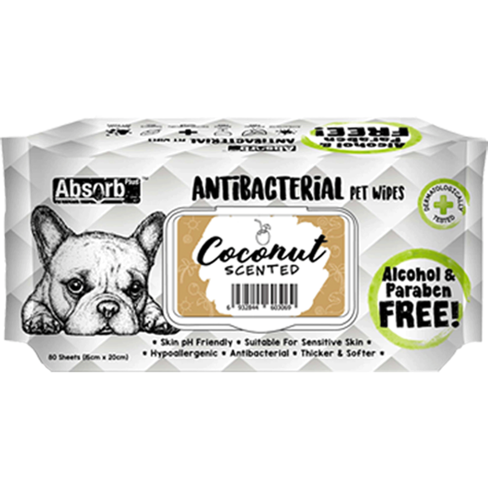 <b>BUY 1 FREE 1: </b> Absolute Absorb Plus Coconut Scented Anti Bacteria Pet Wipes