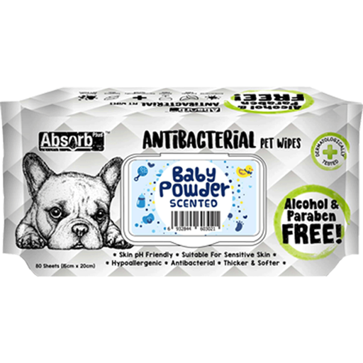<b>BUY 1 FREE 1: </b> Absolute Absorb Plus Baby Powder Scented Anti Bacteria Pet Wipes