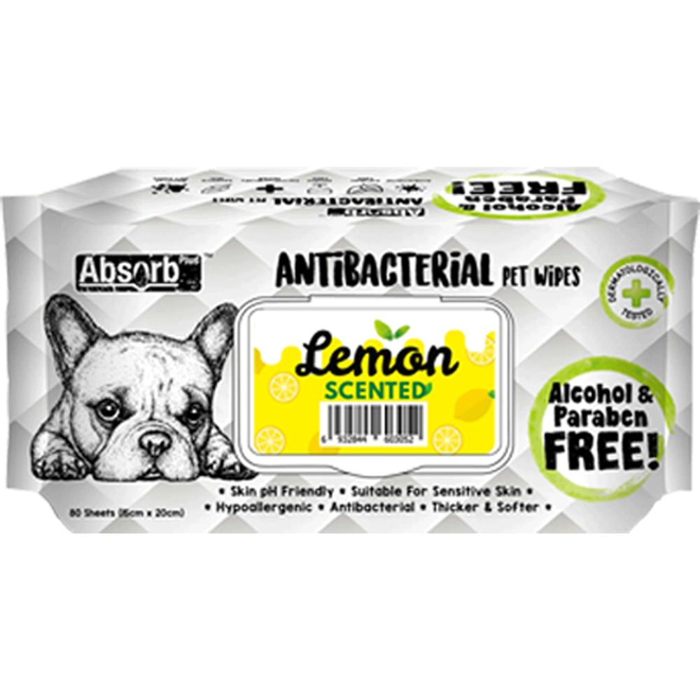 <b>BUY 1 FREE 1: </b> Absolute Absorb Plus Lemon Scented Anti Bacteria Pet Wipes