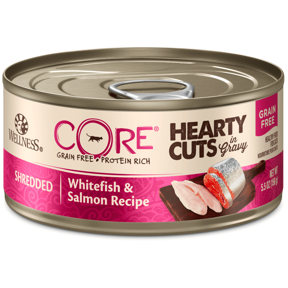 <b>15% OFF:</b> Wellness CORE Grain Free Hearty Cuts Shredded Whitefish & Salmon Recipe Wet Cat Food
