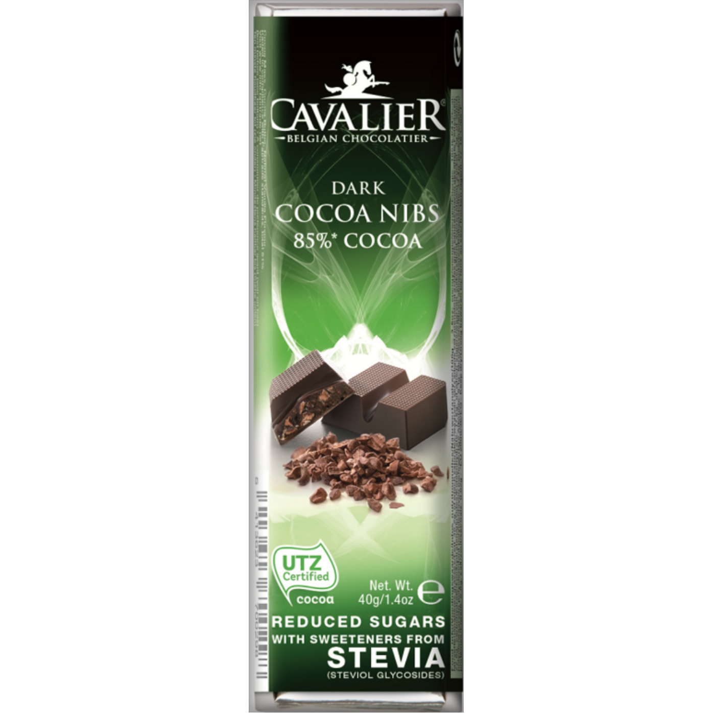 Cavalier Chocolate Reduced Sugar with Stevia 85% Dark Chocolate Cocoa Nibs 43g Bar