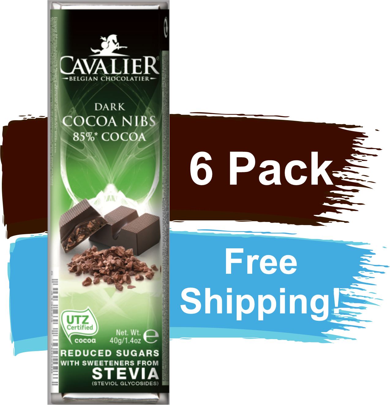 Cavalier Chocolate Reduced Sugar with Stevia 85% Dark Chocolate Cocoa Nibs 6 Pack