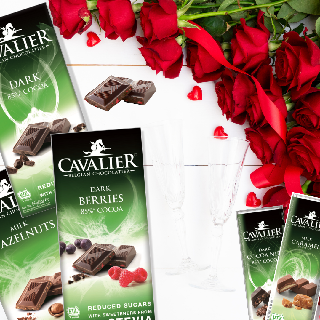 Variety Pack! Cavalier Chocolate Reduced Sugar with Stevia (5 Bar Pack)