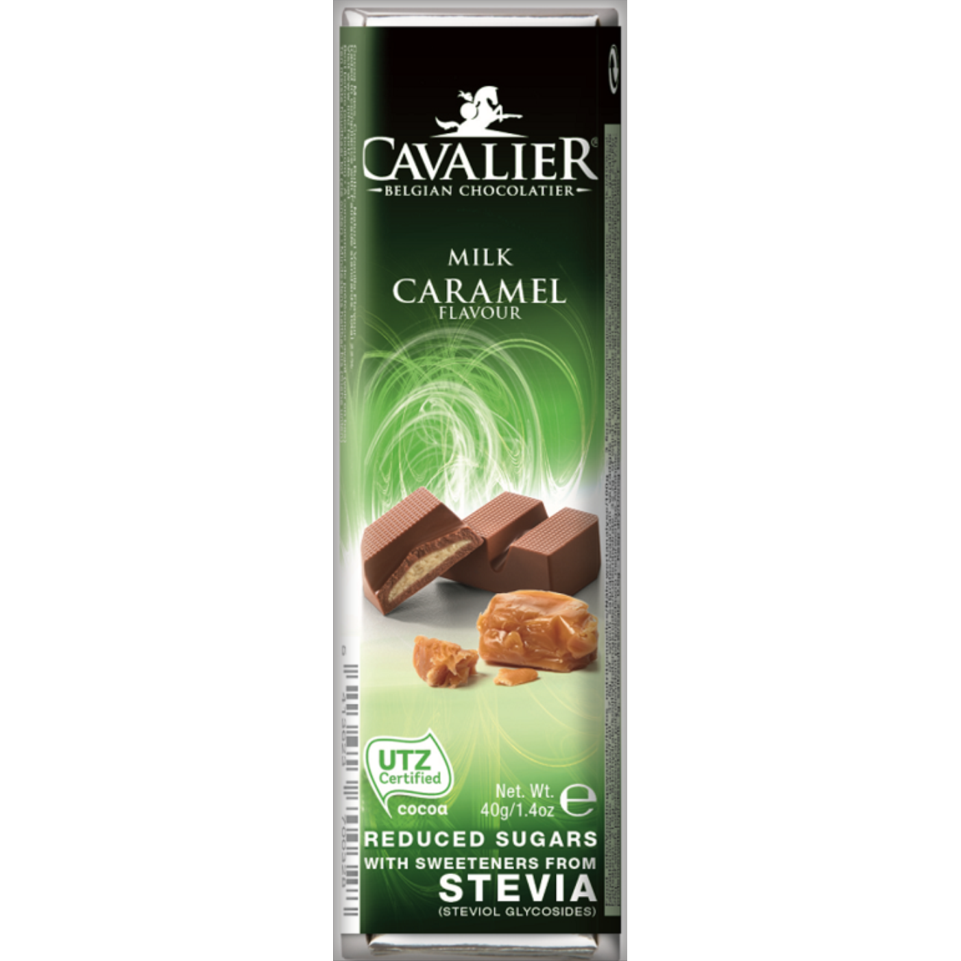 Cavalier Chocolate Reduced Sugar with Stevia Milk Chocolate Caramel 43g Bar
