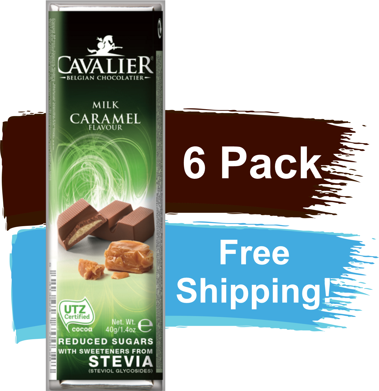 Cavalier Chocolate Reduced Sugar with Stevia Milk Chocolate Caramel 6 Pack