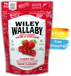 Wiley Wallaby Classic Red Licorice 5 Pack