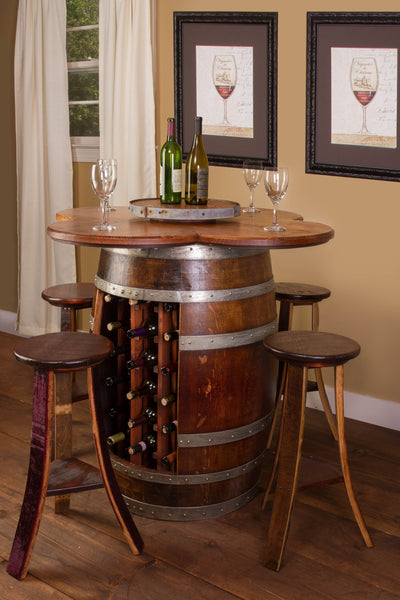 Wine Barrel Table Set Wine Rack Base With 4 Stools