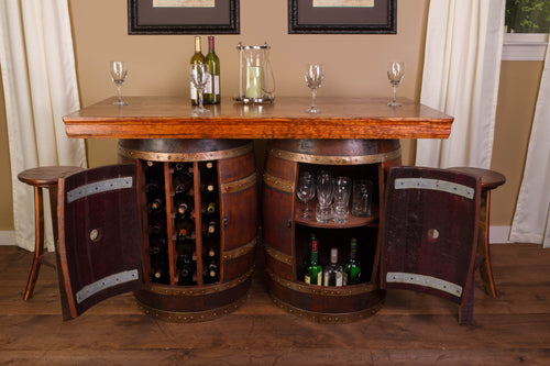 Wine Barrel Bar/Island Set with 4 Stools - Donachelli's Cellars
