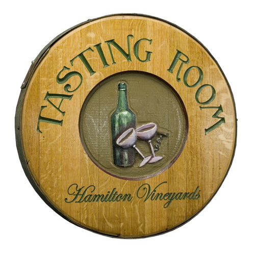 3D Bottle and Glasses Personalized Wine Barrel Head