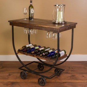 Handcrafted Vintage Wine Cart