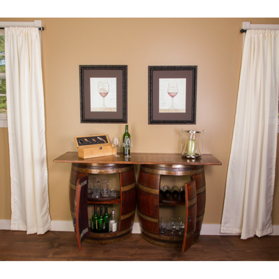 Double Half Barrel Bar - Wall Mount - Donachelli's Cellars