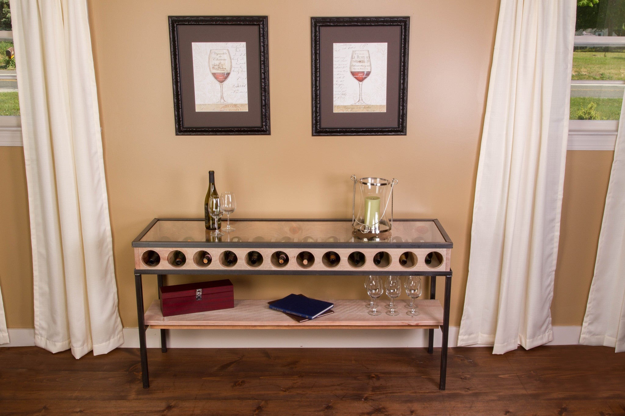 French Glass Top Console Table - Donachelli's Cellars