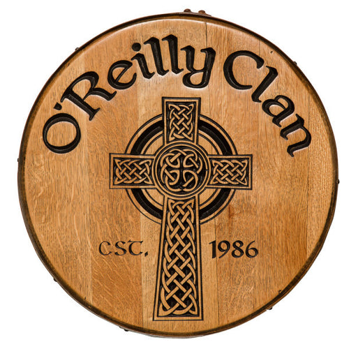 Celtic Cross Personalized Whiskey Barrel Head