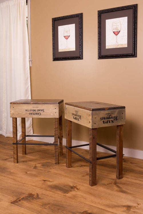 Tall Wine Crate Stool