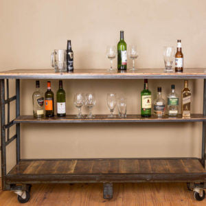 Vintage Cart Rolling Bar with Shelf