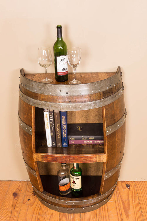 Half Barrel Open Front Cabinet with Shelf - Donachelli's Cellars