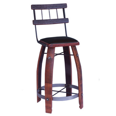 Chocolate Leather Stool with Back - 24""