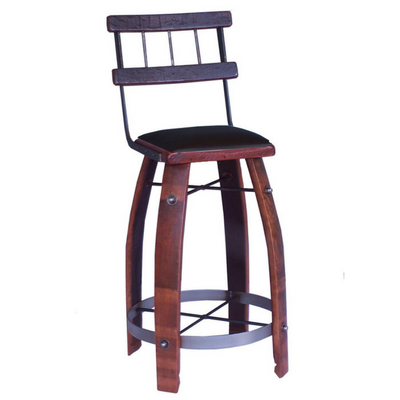 Chocolate Leather Stool with Back - 28""