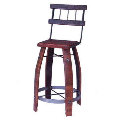 "24"" Wood Stool with Back - Donachelli's Cellars"