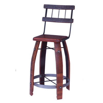 "28"" Wood Stool with Back - Donachelli's Cellars"