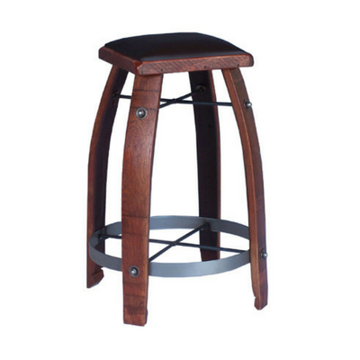 Stave Stool with Chocolate Leather Seat - 28""