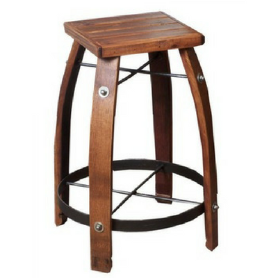 "28"" Stave Stool with Wood Top - Donachelli's Cellars"