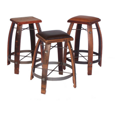 Stave Stool with Chocolate Leather Seat - 24""