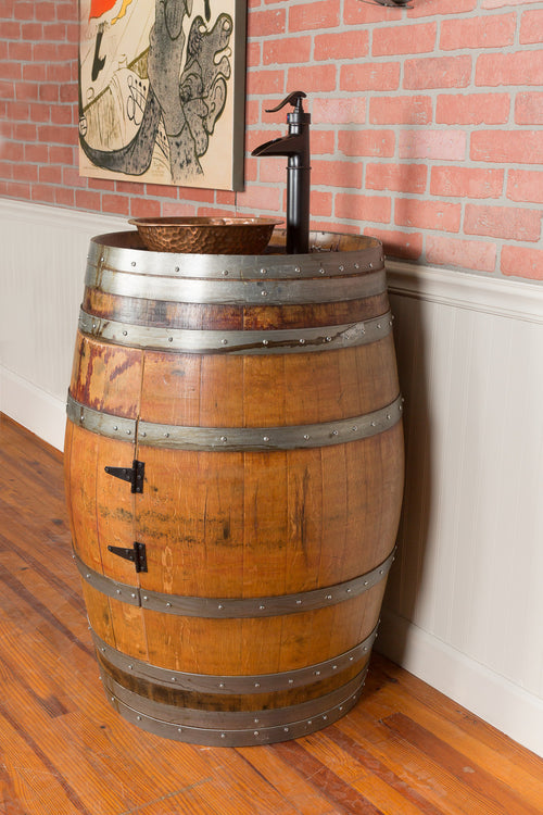 Single Wine Barrel Vanity Set - Vessel Sink - Donachelli's Cellars