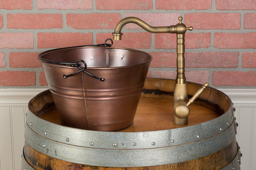 Single Wine Barrel Vanity Set - Bucket Vessel Sink