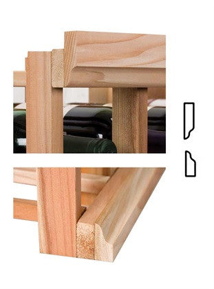 "Vintner Series Molding - Curved 1 7/16"" OG Base with 1 7/16"" OG Crown (For Racks with No Platforms) - Donachelli's Cellars"