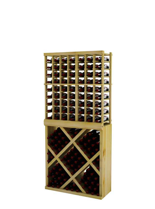 Vintner Series Individual Bottle Wine Rack with Diamond Bin and Face Trim - 6' Height - Donachelli's Cellars