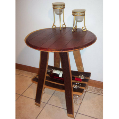 "28"" Barrel Bistro Table with Wine Glass Rack"