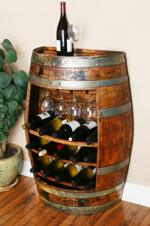 Half Barrel Cabinet with Glasses and Wine Rack