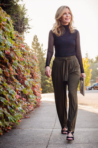 Easy Pleated Pant and Mesh Turtleneck