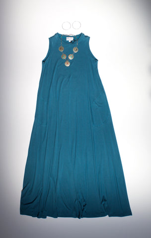 Blue maxi dress outfit made in usa