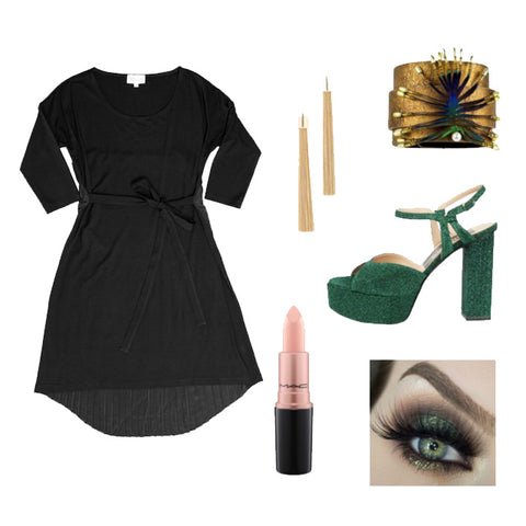 Pleated back t-shirt dress New Years eve Party Look