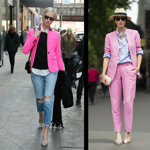 wear pink as a structured piece