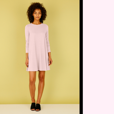 easy pink a-line dress with sleeves and pockets