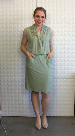draped front faux wrap dress in sage