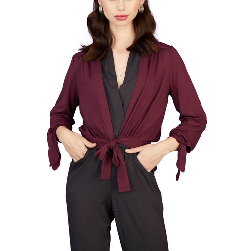 Tie Front Cardigan With Tie Sleeves - Sale